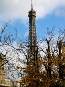 Eiffel Tower view from rue Alboni, Paris