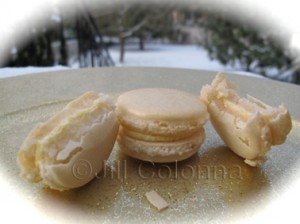 almond macarons in the snow