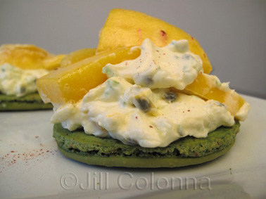 lime macaron with mango, passion fruit, coconut and lemongrass cream