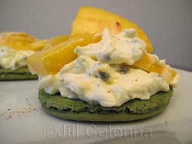 lime macaron with mango, passion fruit, coconut and lemongrass cream