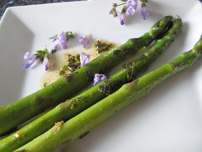 Asparagus, sage butter and flowers