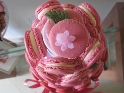 rose macaron tower arial view