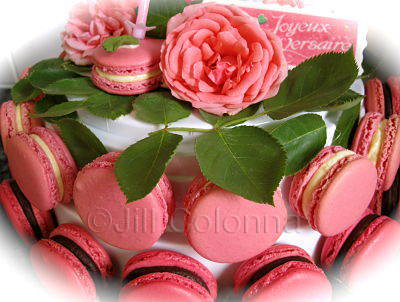 rose macaron birthday cake decoration