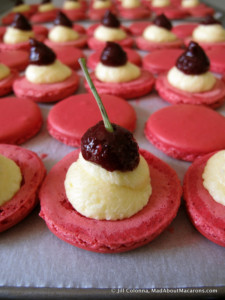 almond macarons with cherry compote