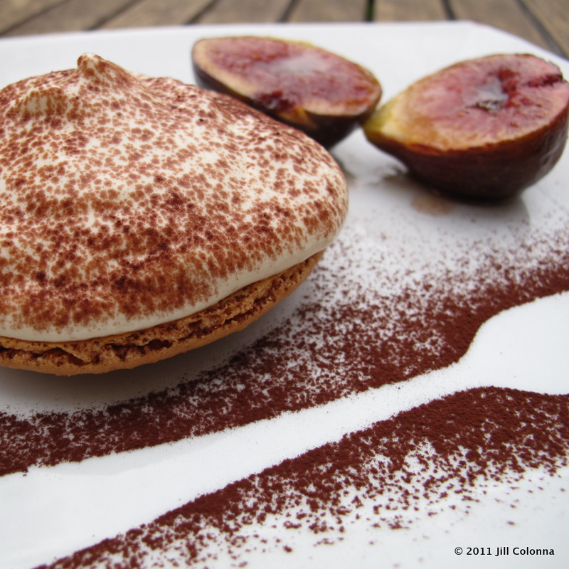 giant tiramisu macarons with marsala figs