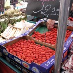 French Plougastel strawberries at the market with MadAboutMacarons.com