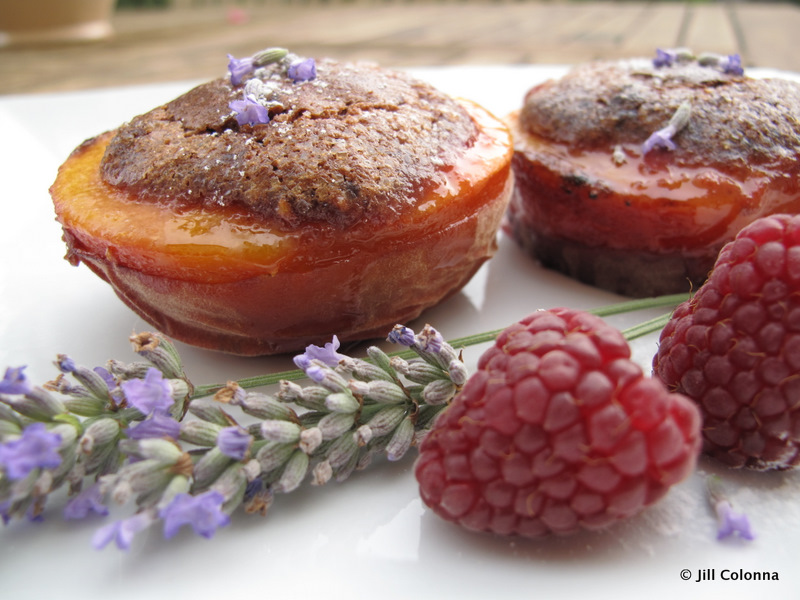 sticky baked peaches egg yolk recipe with lavender