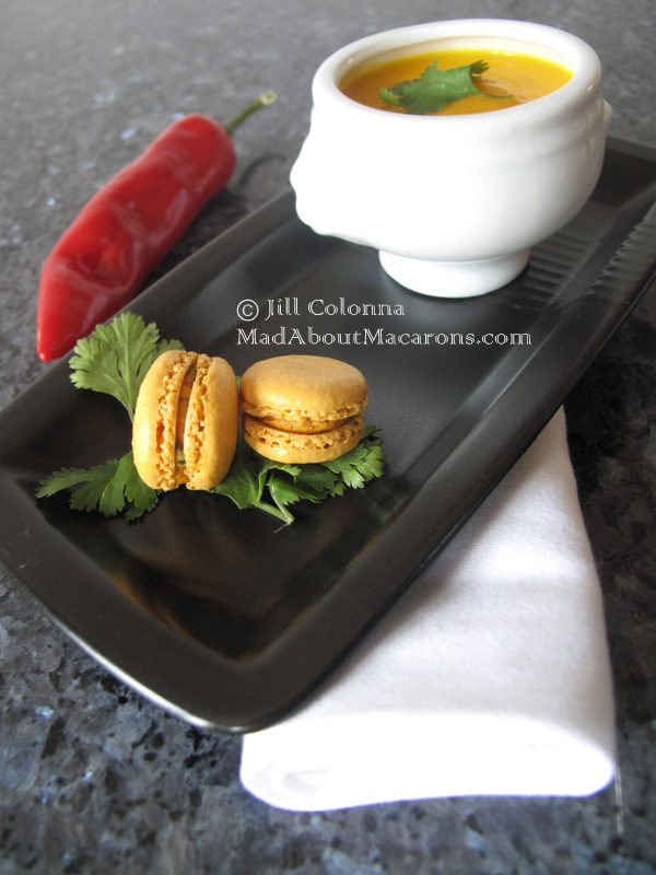 Parsnip carrot and coriander soup - surprise your guests and serve them with gluten free mini curry macarons