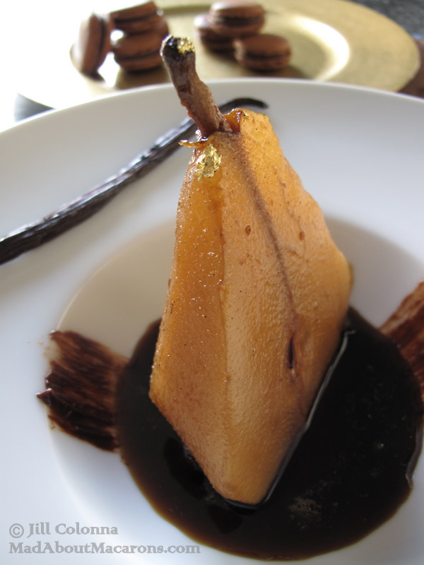 Poached coffee vanilla pear gluten free dessert
