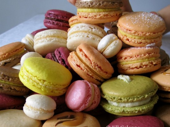 greedy stack of colourful Parisian macarons