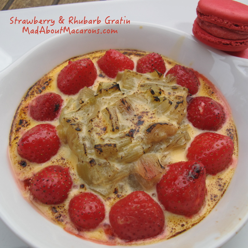 Rhubarb Gratin dessert - with poppy and rhubarb macarons