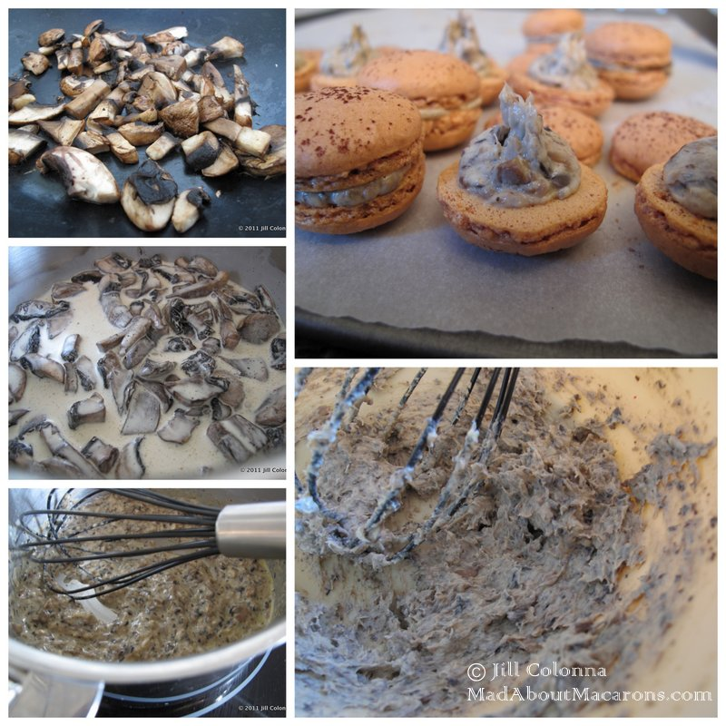 how to make mushroom filling for savoury macarons