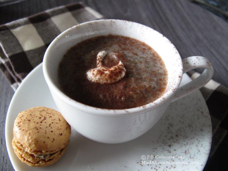 Mushroom-cappuccino with savoury macarons