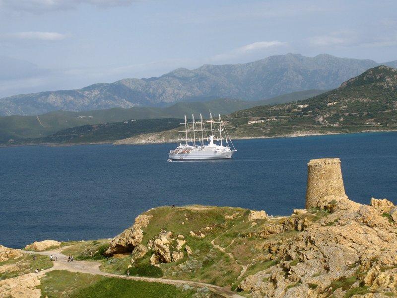 Calvi Corsica Ship on coastline