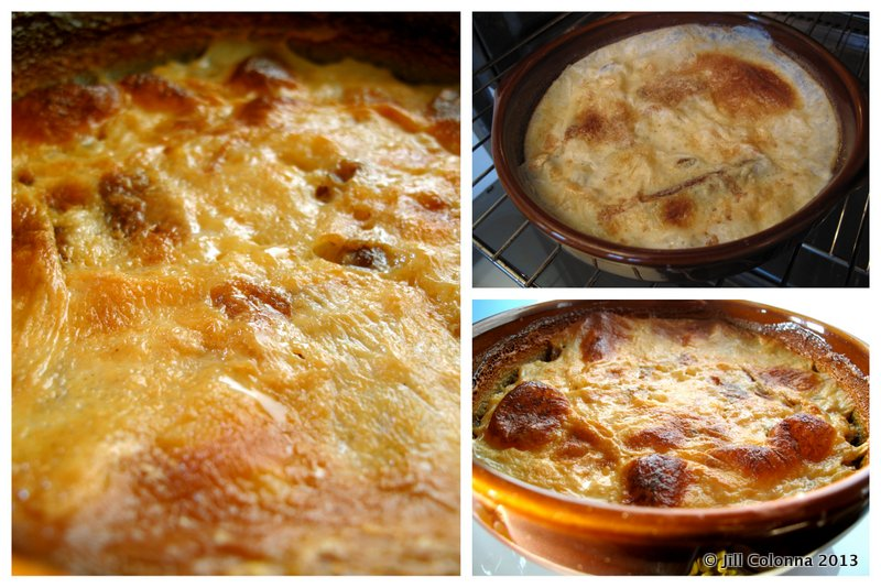 baked rice pudding with toasted skin from the oven