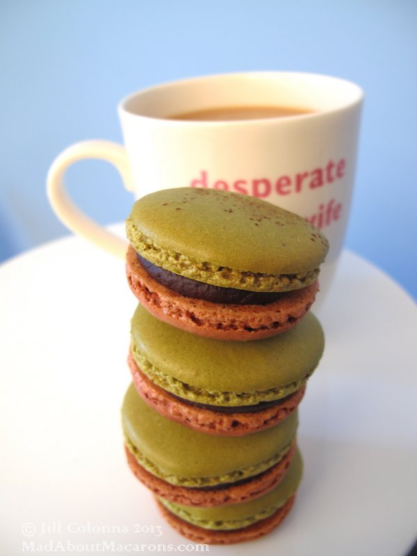 double colour pistachio and chocolate macarons with Jill @ Mad About Macarons