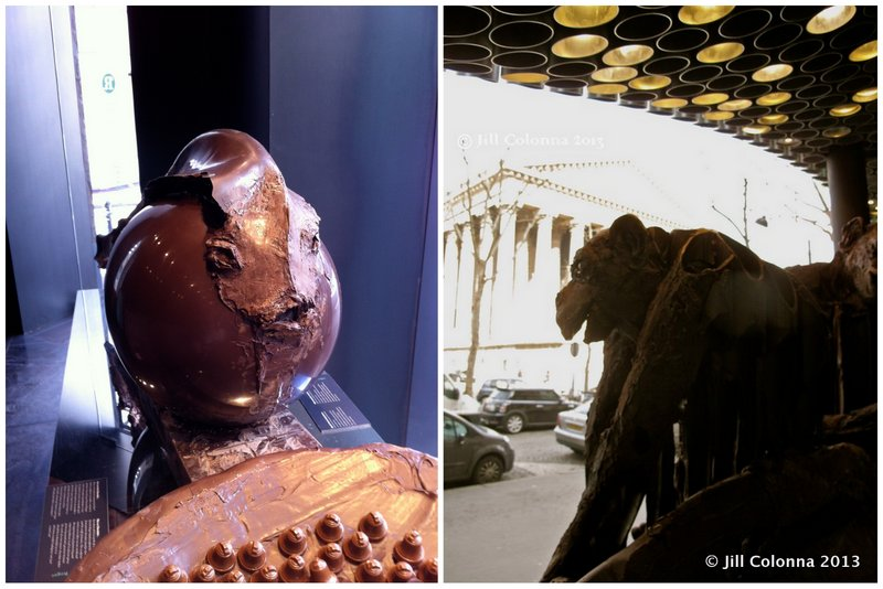 Chocolatier Patrick Roger's chocolate sculptures at La Madeleine, Paris