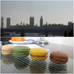 London-skyline-and-welcome-macarons