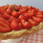 strawberry and pistachio cream tart