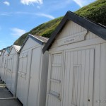 Bathing huts at the beach in Normandy France