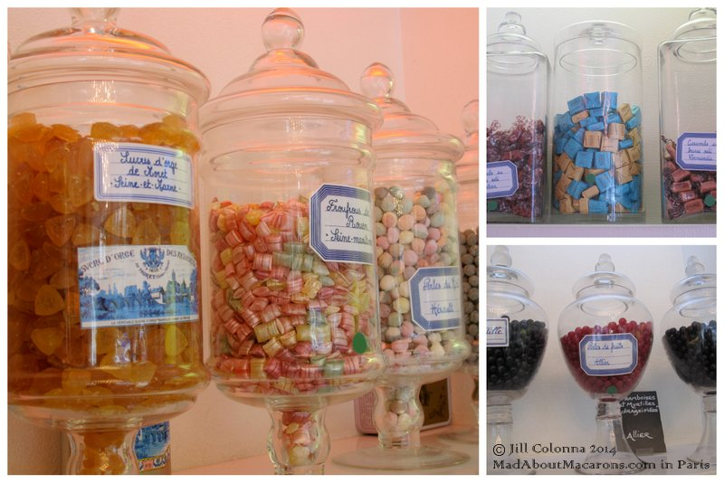 apothecary jars of traditional sweets from all around France at the Bonbon au Palais