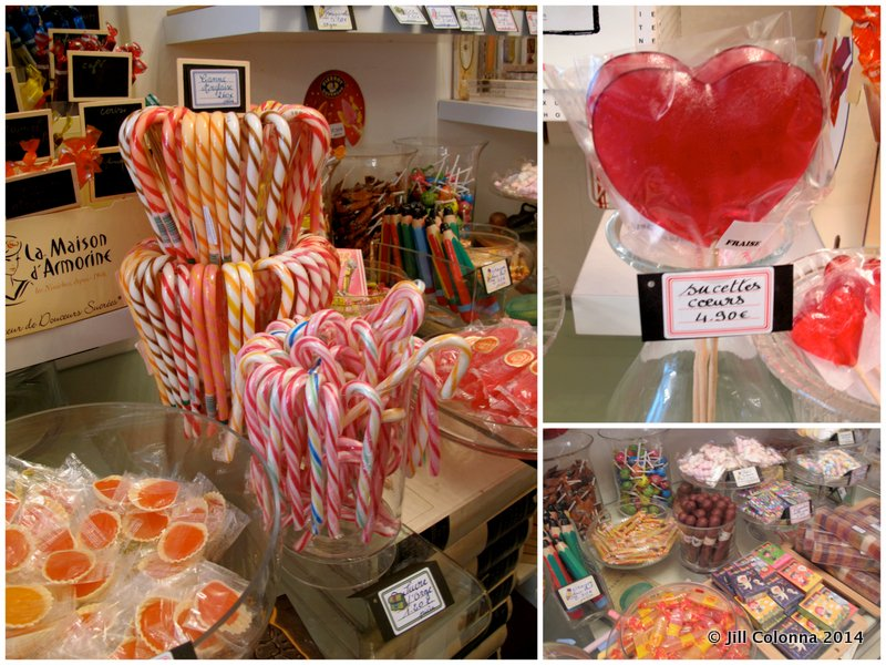 french candy sticks and love heart lollipops at the best sweet shop in Paris