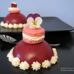 red fruits bavarois dessert with rose macarons