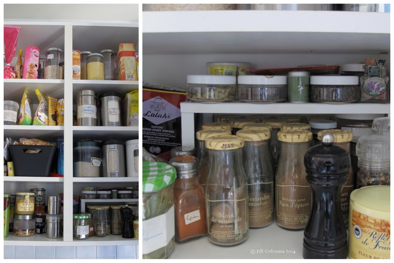 kitchen cupboard organisation with raised shelving for spices