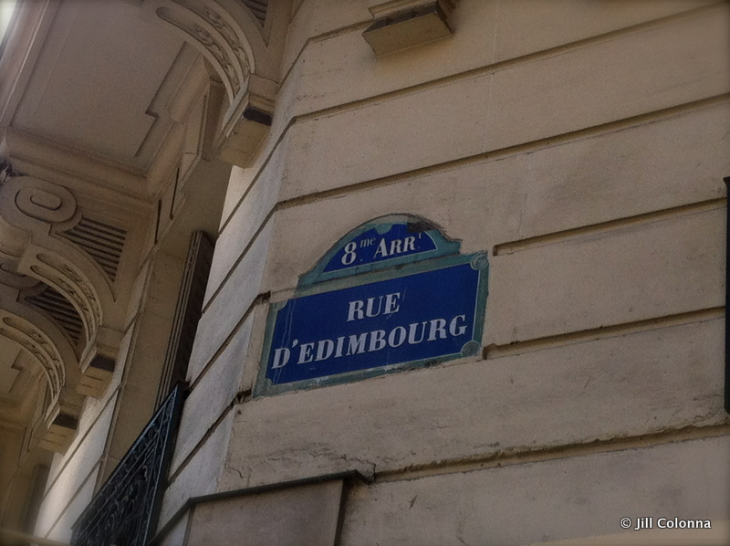 rue d'Edimbourg sign in Paris