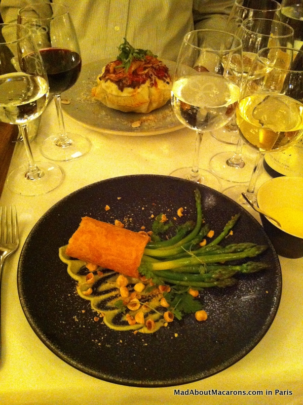asparagus starter and pizza soufflé Brasserie Thoumieux Paris