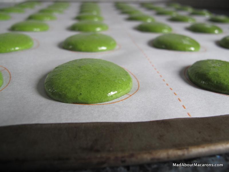 green macaron batter MacShapes baking paper