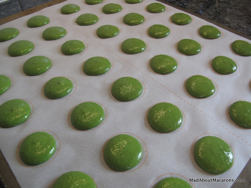green macarons piped before baking