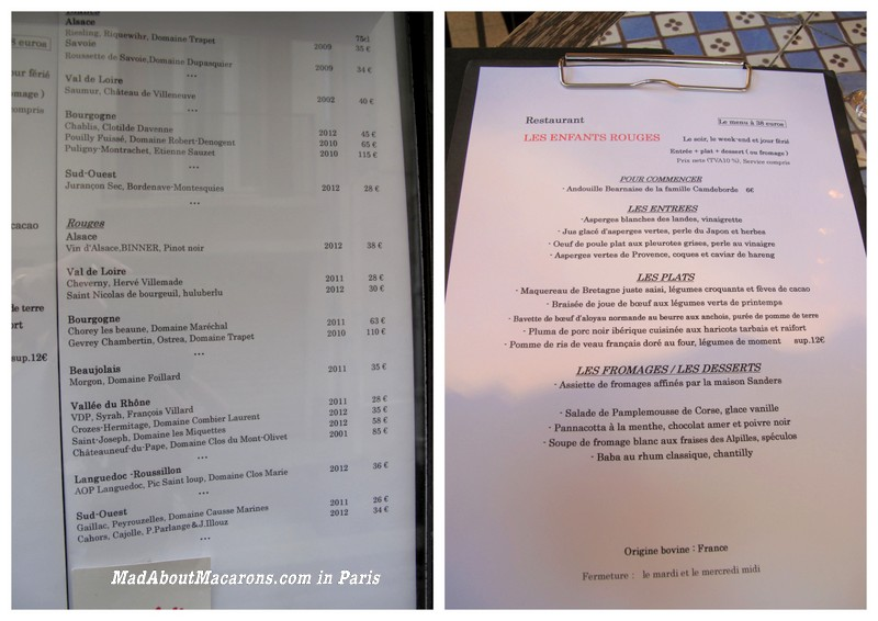 menu and wine list at les enfants rouges restaurant paris