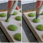 piping out green macarons on a stencil baking parchment