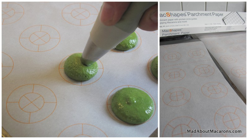 piping out macarons on to MacShapes baking paper