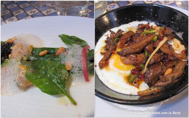 starter courses of asparagus and mushroom egg, les enfants rouges Paris