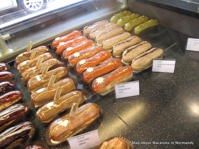 choice of designer eclairs by Serge in Le Touquay, Normandy France