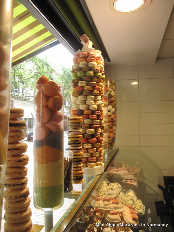 macaron window display at Serge's in Le Touquay, Normandy, France