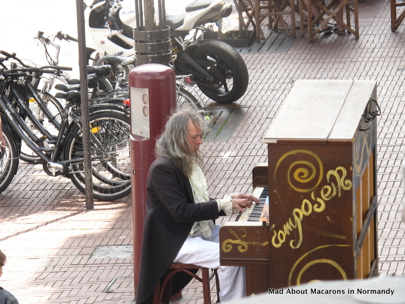 street pianist playing in Le Touquet, Pas-de-Calais, France