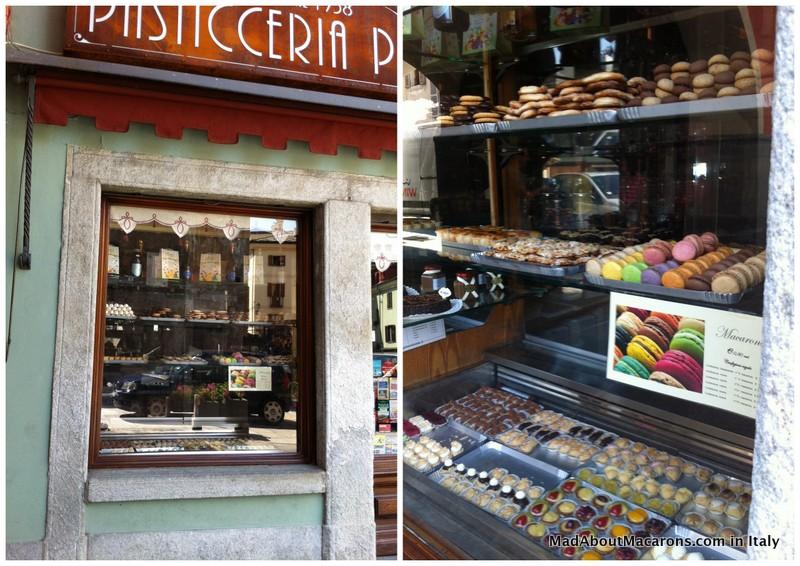 Italian pastry shop window with macarons