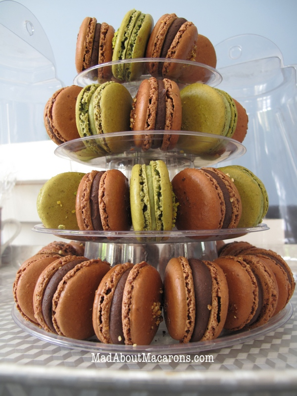 pistachio and chocolate macaron tower display