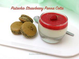 pistachio strawberry panna cotta