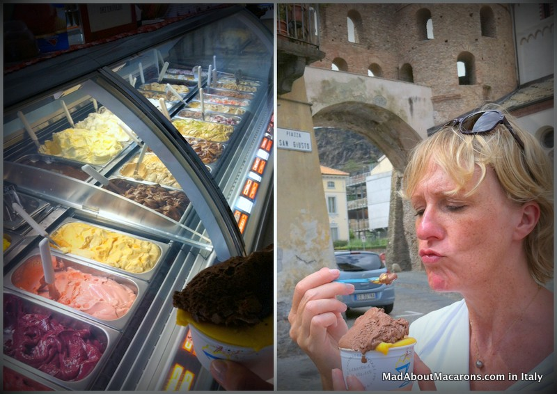 Jill Colonna tasting ice creams from La Bottega del Gelate in Susa, Italy