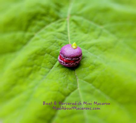 Beet and horseradish or wasabi macaron