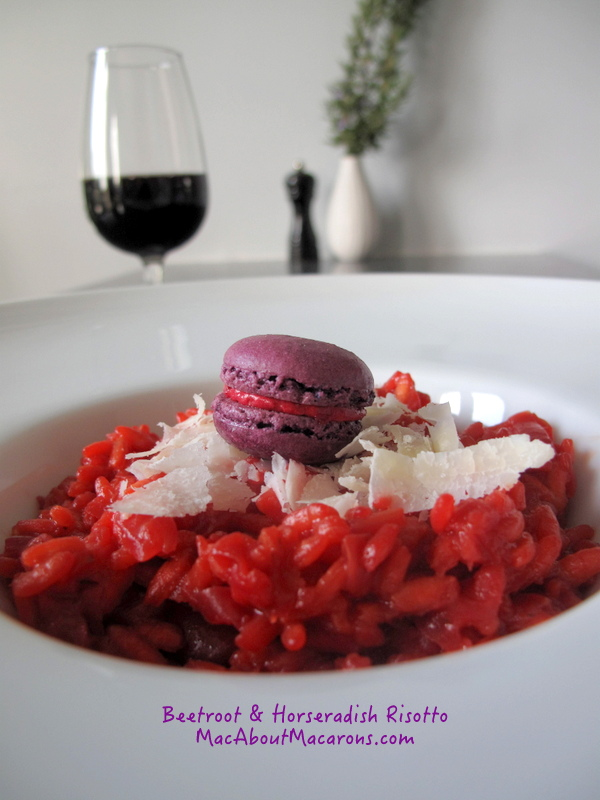 Beet and horseradish risotto with red wine and a savoury macaron