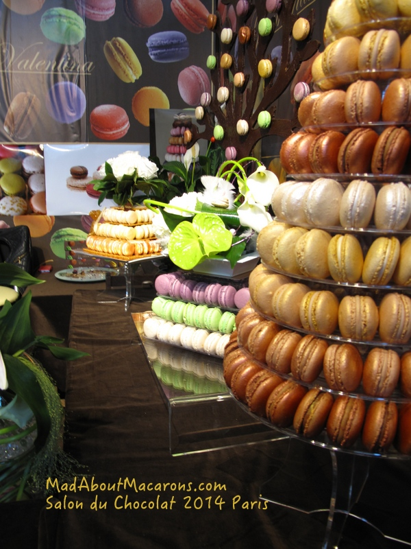 macaron displays at the salon du chocolate Paris