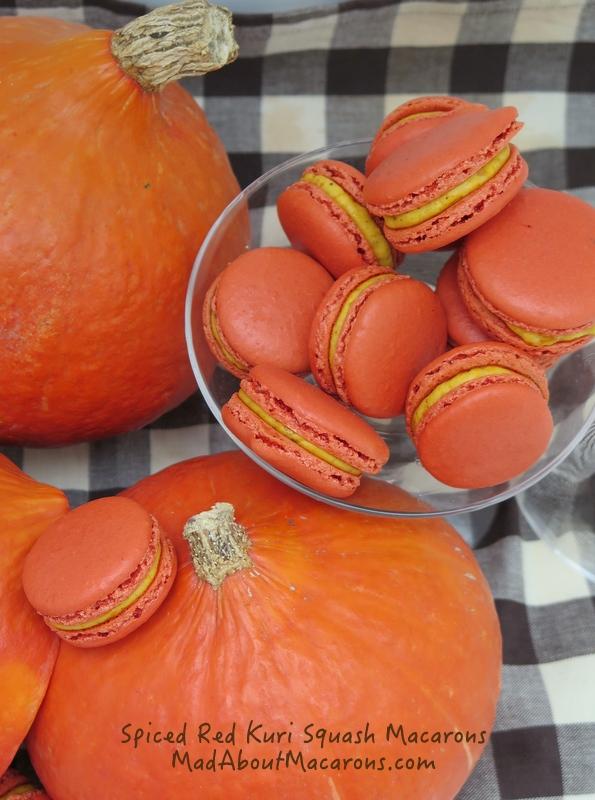 potimarron or red kuru squash spiced macarons