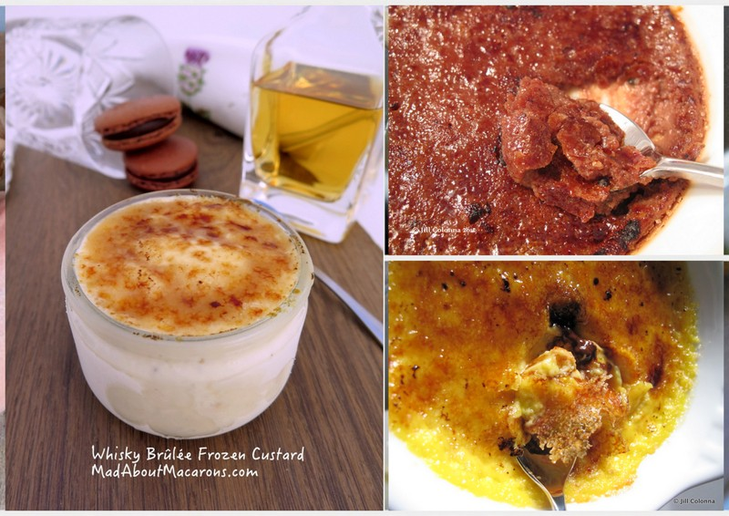 creme brulee desserts with whisky, chocolate or passion fruit with macarons