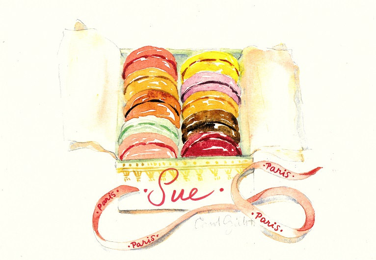 Parisian Macarons presentation box watercolour print by Carol Gillott