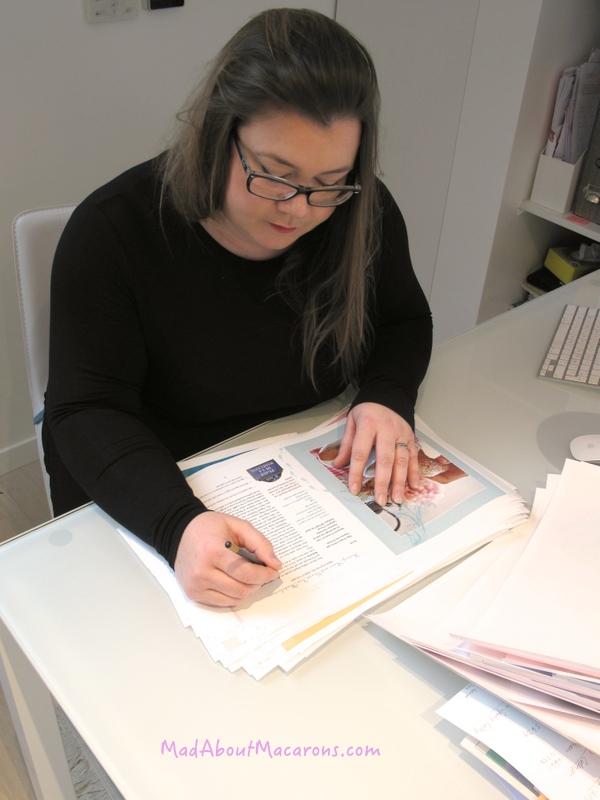 Eleanor Abraham of Waverley Books editing Jill's jokes